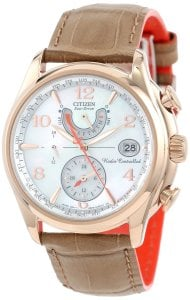Reloj Citizen FC0003-18D World Time AT Eco-Drive con correa de cuero color camel para mujer